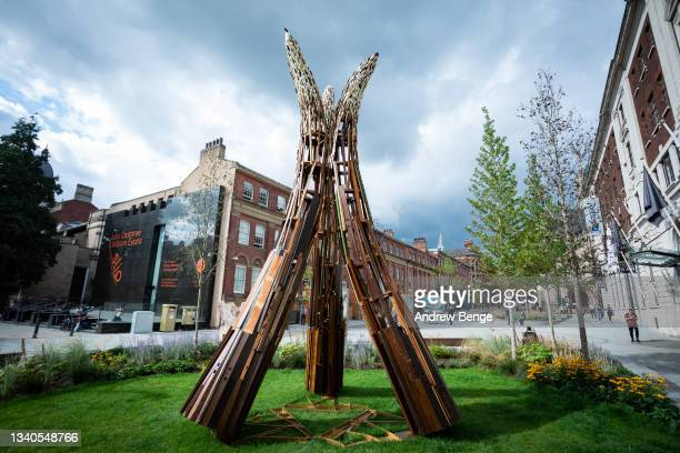 """General view of art installation """"Elephant In The Room"""" during the Leeds Piano Trail 2021 on September 15, 2021 in Leeds, England."""
