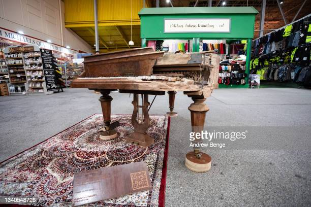 """General view of art installation """"The Sands Of Time"""" in Kirkgate Market during the Leeds Piano Trail 2021 on September 15, 2021 in Leeds, England."""