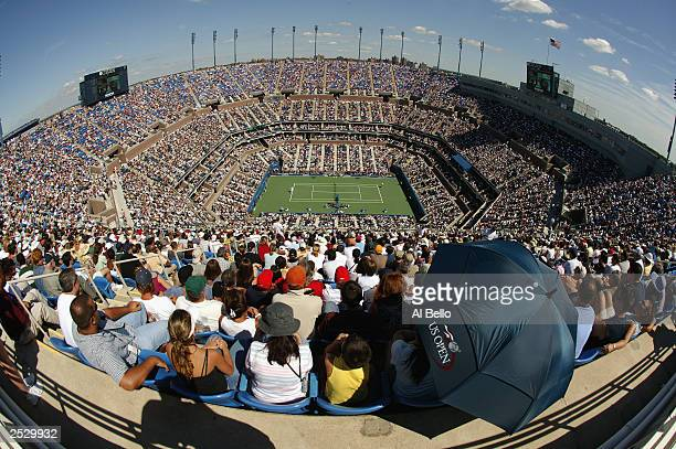 General view of Arthur Ashe Stadium as Juan Carlos Ferrero of Spain plays Andre Agassi during the US Open men's singles semifinal match at the USTA...