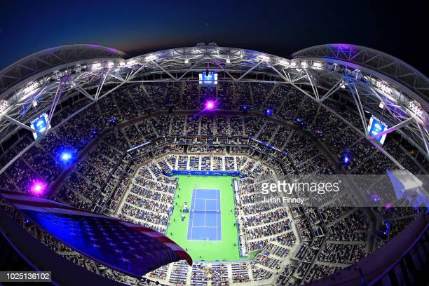 A general view of Arthur Ashe Stadium as Serena Williams of the United States and Carina Witthoeft of Germany take the court prior to their women's...