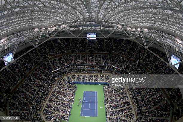 A general view of Arthur Ashe Stadium during a match between Rafael Nadal of Spain and Andrey Rublev of Russia in the Men's Singles Quarterfinal on...