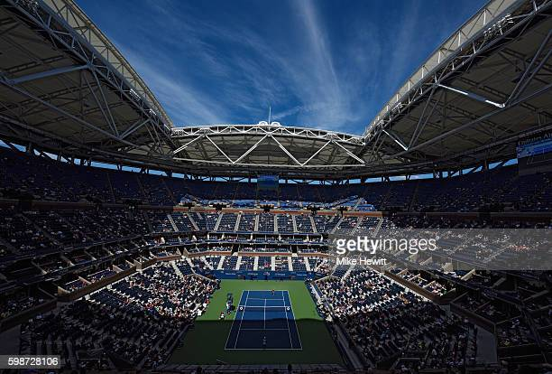 A general view of Arthur Ashe Stadium during th third round Women's Singles match between Caroline Wozniacki of Denmark and Monica Niculescu of...