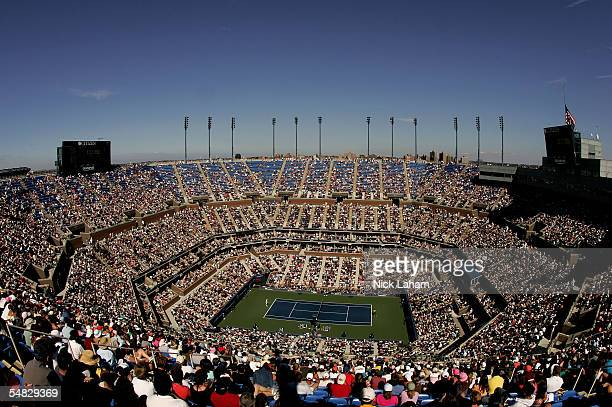 A general view of Arthur Ashe Stadium during the fourth round match between Andre Agassi and Xavier Malisse of Belgium at the US Open at the USTA...