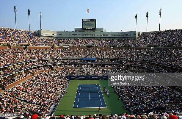 A general view of Arthur Ashe Stadium during the men's semifinal between Mikhail Youzhny of Russia and Andy Roddick during the men's semifinal at the...