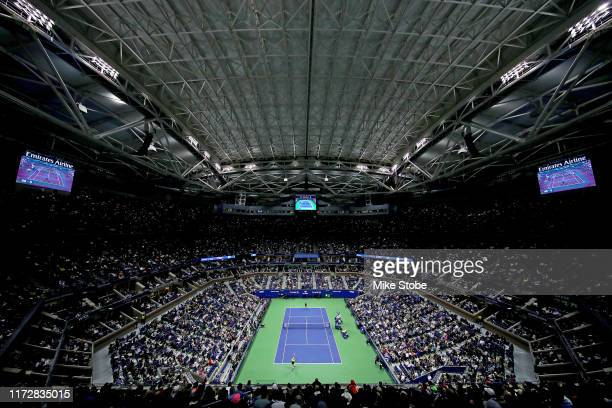 A general view of Arthur Ashe Stadium during the Men's Singles semifinal match between Matteo Berrettini of Italy and Rafael Nadal of Spain on day...
