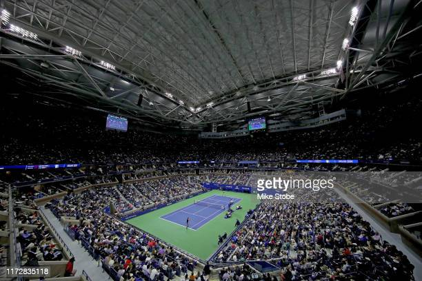 General view of Arthur Ashe Stadium during the Men's Singles semi-final match between Matteo Berrettini of Italy and Rafael Nadal of Spain on day...