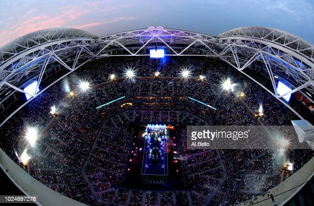 General view of Arthur Ashe Stadium during the opening night performance by singer-songwriter Kelly Clarkson on Day One of the 2018 US Open at the...