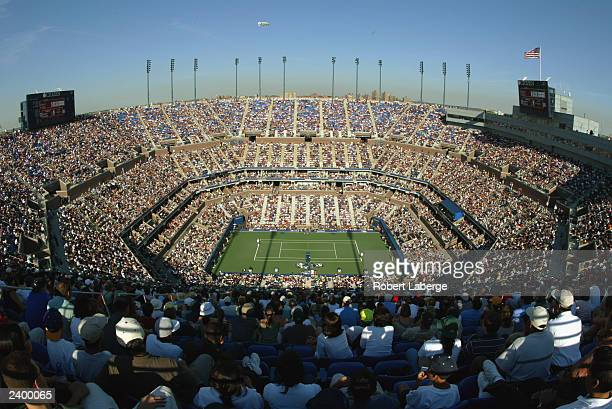General view of Arthur Ashe Stadium during the semifinals of the US Open at the USTA National Tennis Center on September 7, 2002 in Flushing...