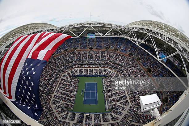 A general view of Arthur Ashe Stadium during the third round Women's Singles match between Serena Williams of the United States and Johanna Larsson...