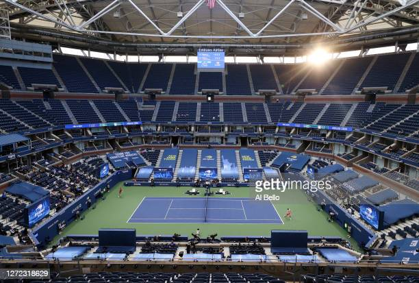 General view of Arthur Ashe Stadium is seen as Alexander Zverev of Germany returns the ball in the third set during his Men's Singles final match...