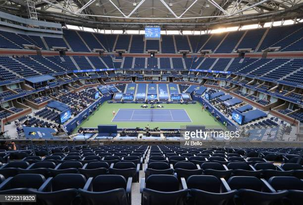 General view of Arthur Ashe Stadium is seen as Alexander Zverev of Germany serves the ball in the third set during his Men's Singles final match...