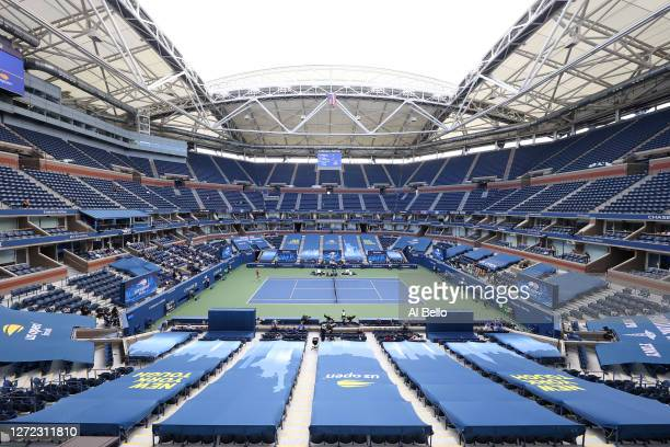 A general view of Arthur Ashe Stadium is seen as Dominic Thiem of Austria returns the ball in the first set during his Men's Singles final match...