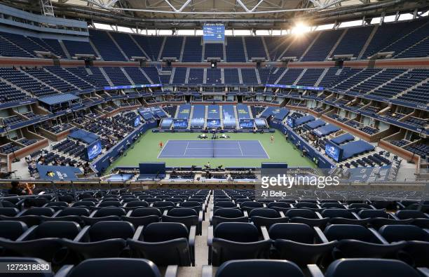 A general view of Arthur Ashe Stadium is seen as Dominic Thiem of Austria serves the ball in the third set during his Men's Singles final match...