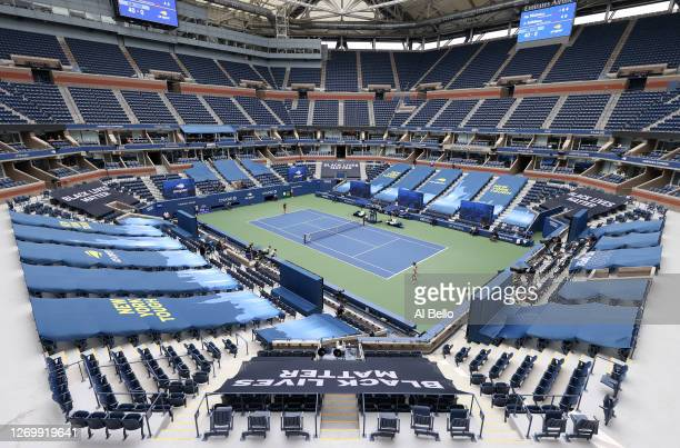 A general view of Arthur Ashe Stadium is seen as Karolina Pliskova of the Czech Republic and Anhelina Kalinina of the Ukraine play during their...