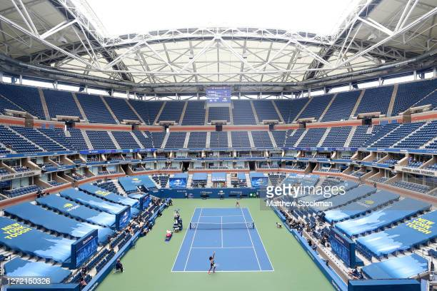 A general view of Arthur Ashe stadium is seen as Naomi Osaka of Japan serves the ball in the first set during her Women's Singles final match against...