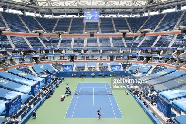 General view of Arthur Ashe stadium is seen as Naomi Osaka of Japan serves the ball in the first set during her Women's Singles final match against...