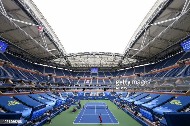 A general view of Arthur Ashe stadium is seen as Serena Williams of the United States serves the ball during her Women's Singles quarterfinal match...