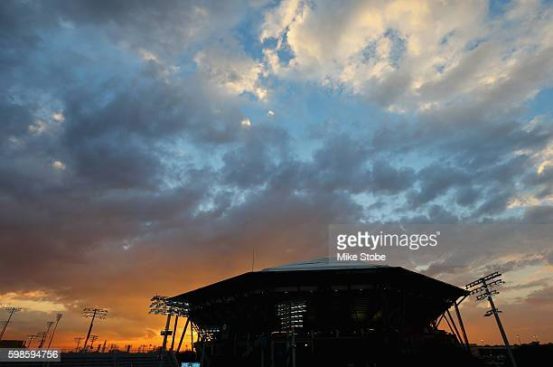A general view of Arthur Ashe Stadium is seen as the sun sets on Day Four of the 2016 US Open at the USTA Billie Jean King National Tennis Center on...