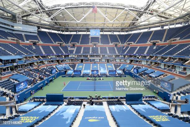 A general view of Arthur Ashe stadium is seen as Victoria Azarenka of Belarus serves the ball in the first set during her Women's Singles final match...