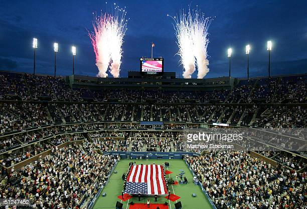 A general view of Arthur Ashe Stadium is seen during the US Open at the USTA National Tennis Center in Flushing Meadows Corona Park on August 30 2004...