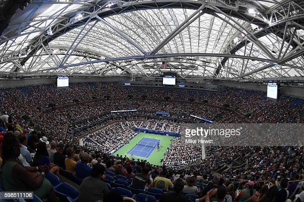 General view of Arthur Ashe Stadium with the roof closed during the second round Men's Singles match between Andy Murray of Great Britain and Marcel...