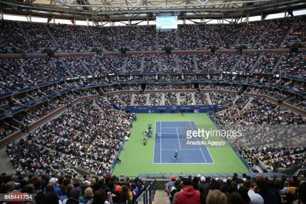 General view of Artur Ash stadium as Kevin Anderson of South Africa competes against Rafael Nadal of Spain in Men's Singles final match within the...