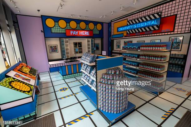 General view of artwork at the Supermarket installation by Bombay Sapphire and the Design Museum showcasing emerging artists who have designed...