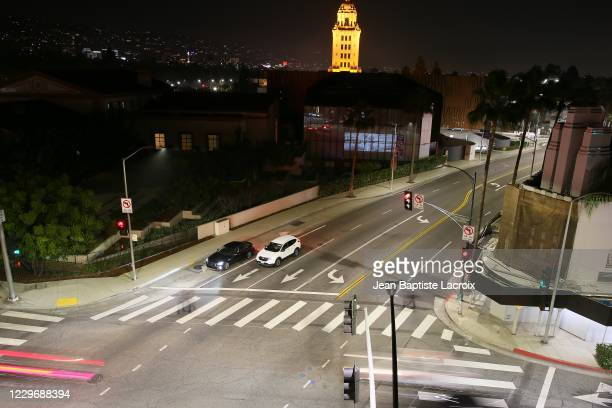 "General view of artwork projected on windows is seen during the ""Visions In Light: Windows On The Wallis"" at Wallis Annenberg Center for the..."