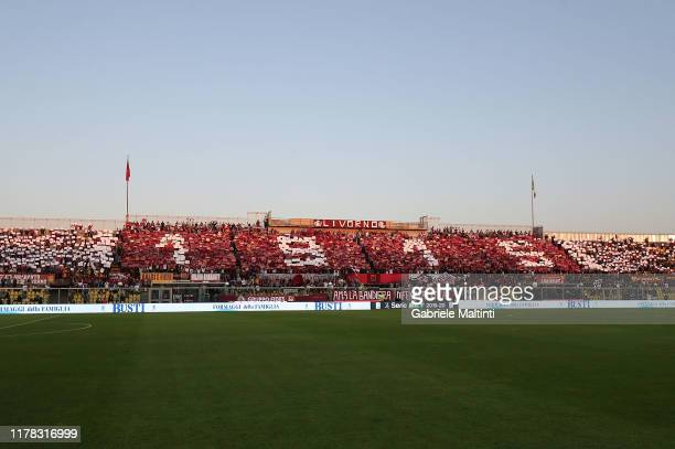 General view of AS Livorno fans during the Serie B match between AS Livorno and Pisa SC at Stadio Armando Picchi on October 26 2019 in Livorno Italy
