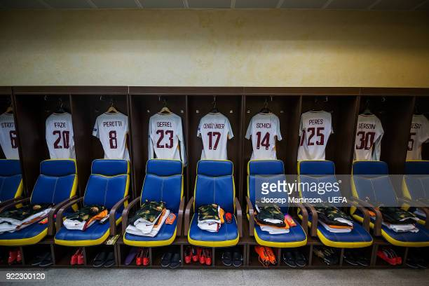 A general view of AS Roma dressing room during the UEFA Champions League Round of 16 First Leg match between Shakhtar Donetsk and AS Roma at Metalist...
