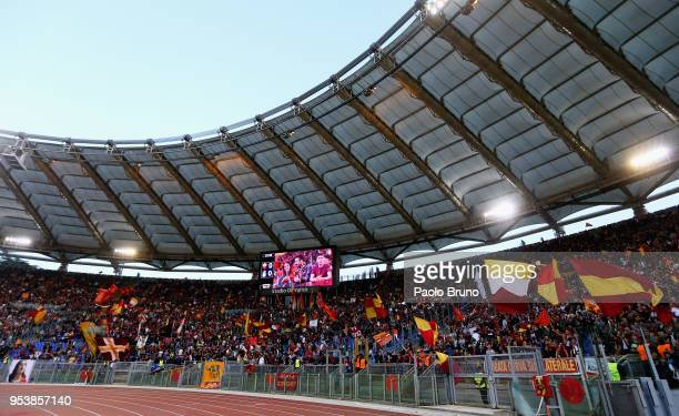 A general view of AS Roma fans before the UEFA Champions League Semi Final Second Leg match between AS Roma and Liverpool at Stadio Olimpico on May 2...