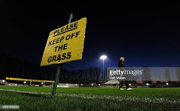 A general view of as the groundsman checks the pitch ahead of the FA Cup First Round match between WestonSuperMare and Doncaster Rovers on November...