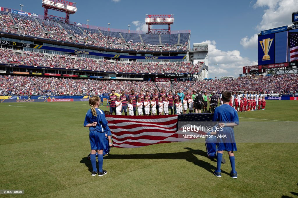 General View of as The Panama and United States players line up for their national anthems prior to the 2017 CONCACAF Gold Cup Group B match between the United States and Panama at Nissan Stadium on July 8, 2017 in Nashville, Tennessee.