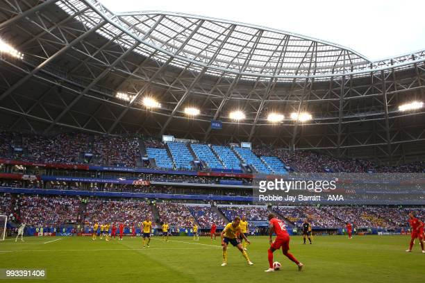 General View of Ashley Young of England in action in the Samara Arena during the 2018 FIFA World Cup Russia Quarter Final match between Sweden and...