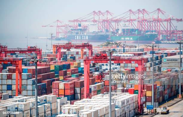 A general view of at the Yangshan DeepWater Port an automated cargo wharf in Shanghai on April 9 2018 China warned that trade talks with the United...