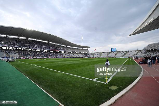 A general view of Ataturk Olympic stadium before the Turkish Super League match between Besiktas and Fenerbahce at the Ataturk Olympic Stadium on...