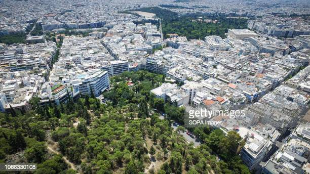 A general view of Athens City Center by a drone