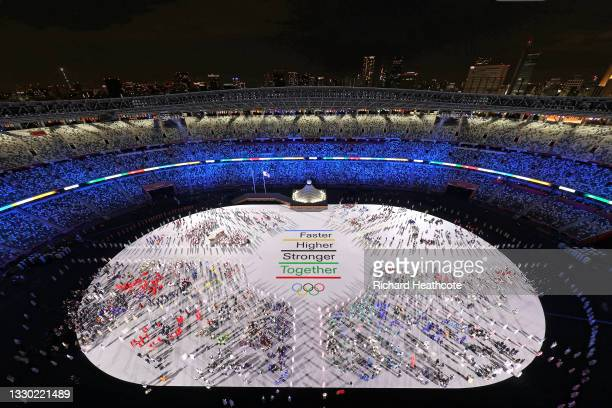 General view of athletes during the Opening Ceremony of the Tokyo 2020 Olympic Games at Olympic Stadium on July 23, 2021 in Tokyo, Japan.