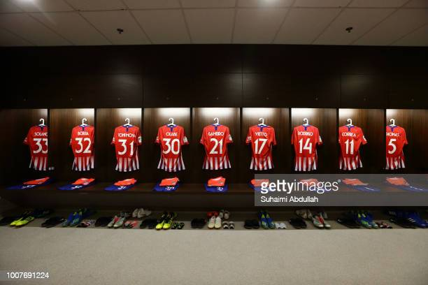 General view of Atletico Madrid dressing room ahead of the the International Champions Cup 2018 match between Atletico Madrid and Paris Saint Germain...