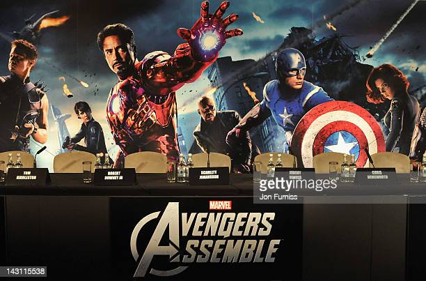 """General view of atmosphere ahead of the Marvel Studios' """"Avengers Assemble"""" Press Conference at Claridge's Hotel on April 19, 2012 in London, England."""