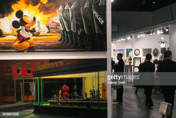 A general view of atmosphere and art at the 23rd Annual LA Art Show Opening Night Premiere Gala Benefiting St Jude Children's Research Hospital at...