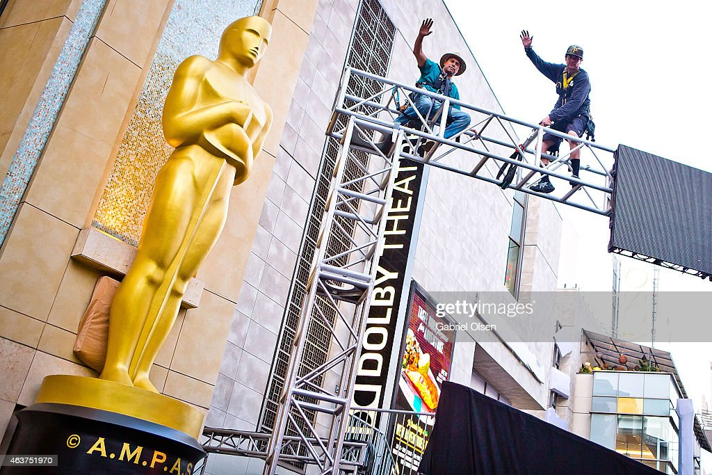 A general view of atmosphere and red carpet installation at the 87th Annual Academy Awards - Preparations Continue at Hollywood & Highland Center on February 17, 2015 in Hollywood, California.