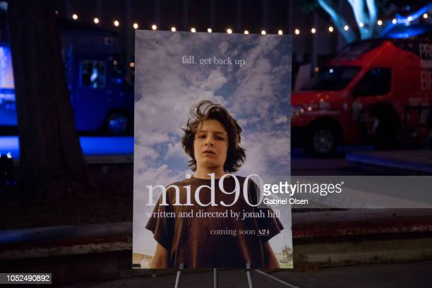 A general view of atmosphere and signage at the premiere of A24's Mid90s at West LA Courthouse on October 18 2018 in Los Angeles California