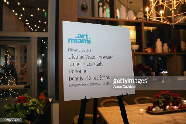 A general view of atmosphere Art Miami 2018 Lifetime Visionary Award Dinner Honoring Dennis Debra Scholl at Boulud Sud Miami on December 6 2018 in...