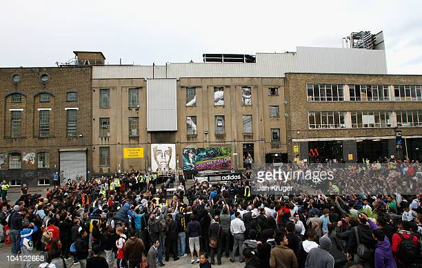 A general view of atmosphere as adidas bring footballer Lionel Messi to a market stall in Brick Lane for an unannounced boot amnesty promoting the...