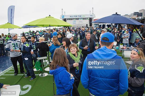 General view of atmosphere as American Express hosts a neverbeforeseen pregame experience for Seattle Seahawks fans and Card Members called American...