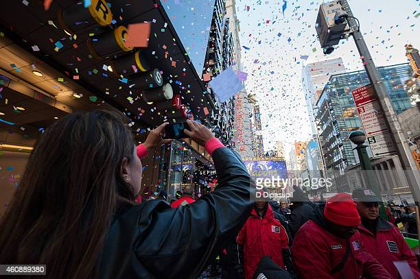 A general view of atmosphere as Broadway's Aladdin hosts Times Square Prepares For 2015 Confetti Test at the New Amsterdam Theatre on December 29...
