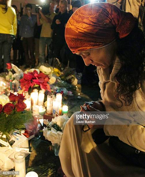 A general view of atmosphere as fans pay tribute to actor Paul Walker at crash site on December 1 2013 in Valencia California