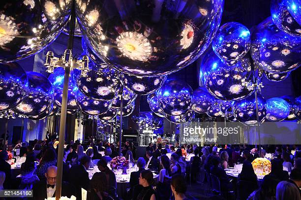 General view of atmosphere as guests sit for dinner during the Tiffany & Co. Blue Book Gala at The Cunard Building on April 15, 2016 in New York City.