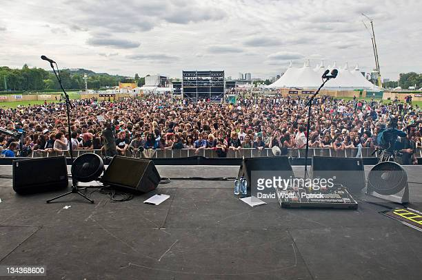 A general view of atmosphere as Mat Bastard performs at Solidays on June 24 2011 in Paris France